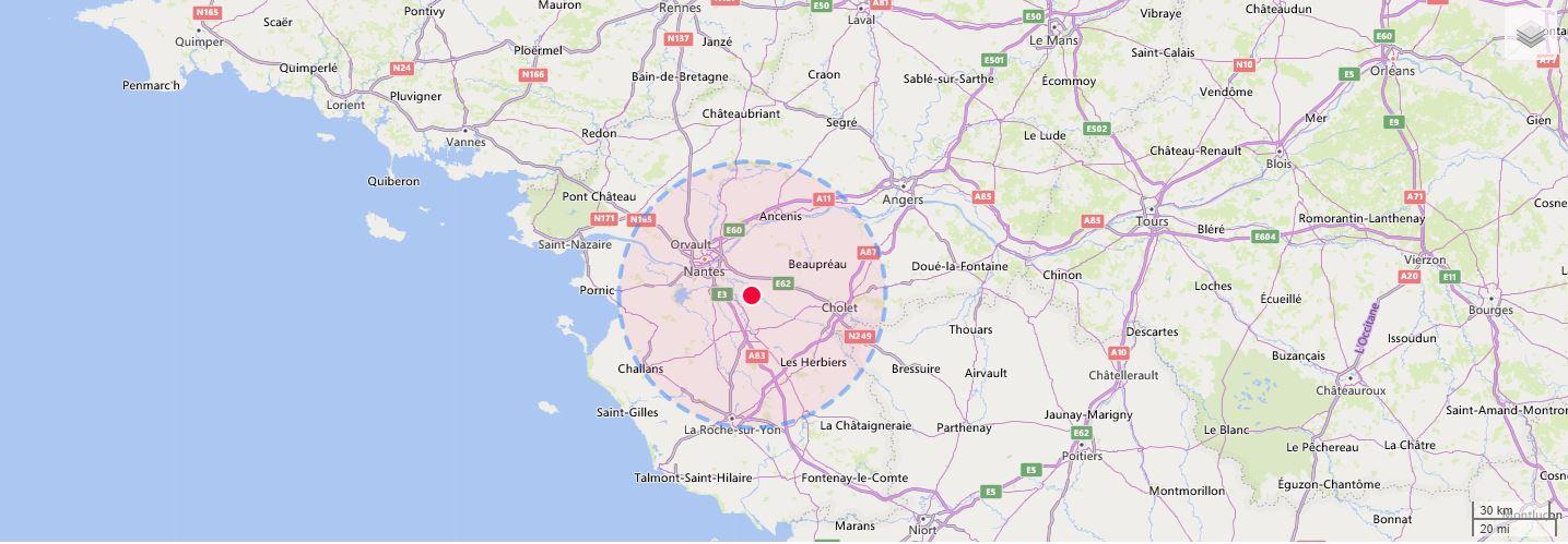 Zone d'intervention de la menuiserie CGM OSSATURE BOIS à Cugand